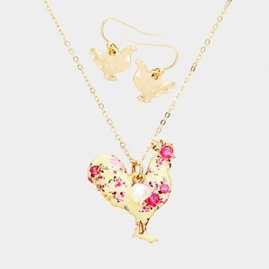 Rooster Pendant Necklace + Earring Set